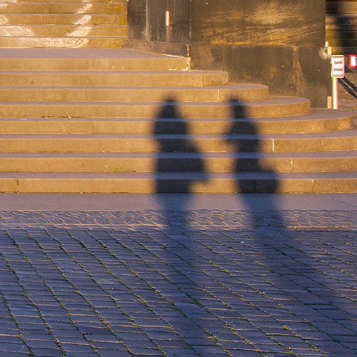 Zwei Schatten an der Brühlsche Terrassen Dresden