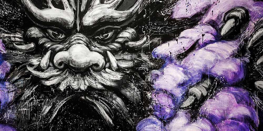 Drache lila Wolken Detailansicht