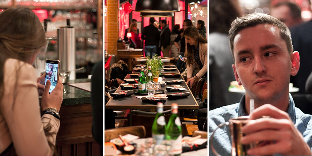 italienisches Restaurant gefüllt mit Bloggern