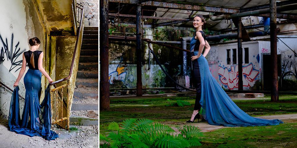 Blaues Kleid aus italienischer Seide von Jungdesigner Max Kunert
