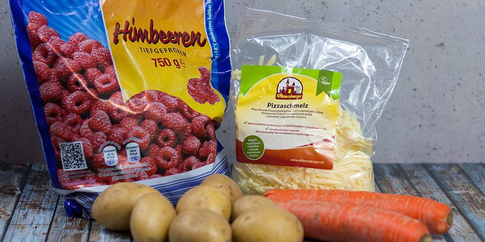 Tiefkühl-Himbeeren, Wilmersburger Pizzaschmelz, Karotten, Kartoffeln