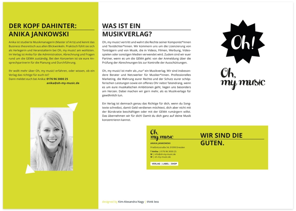6-Seiten-Wickelfalz-Faltblatt für Dresdner Musikverlag außen